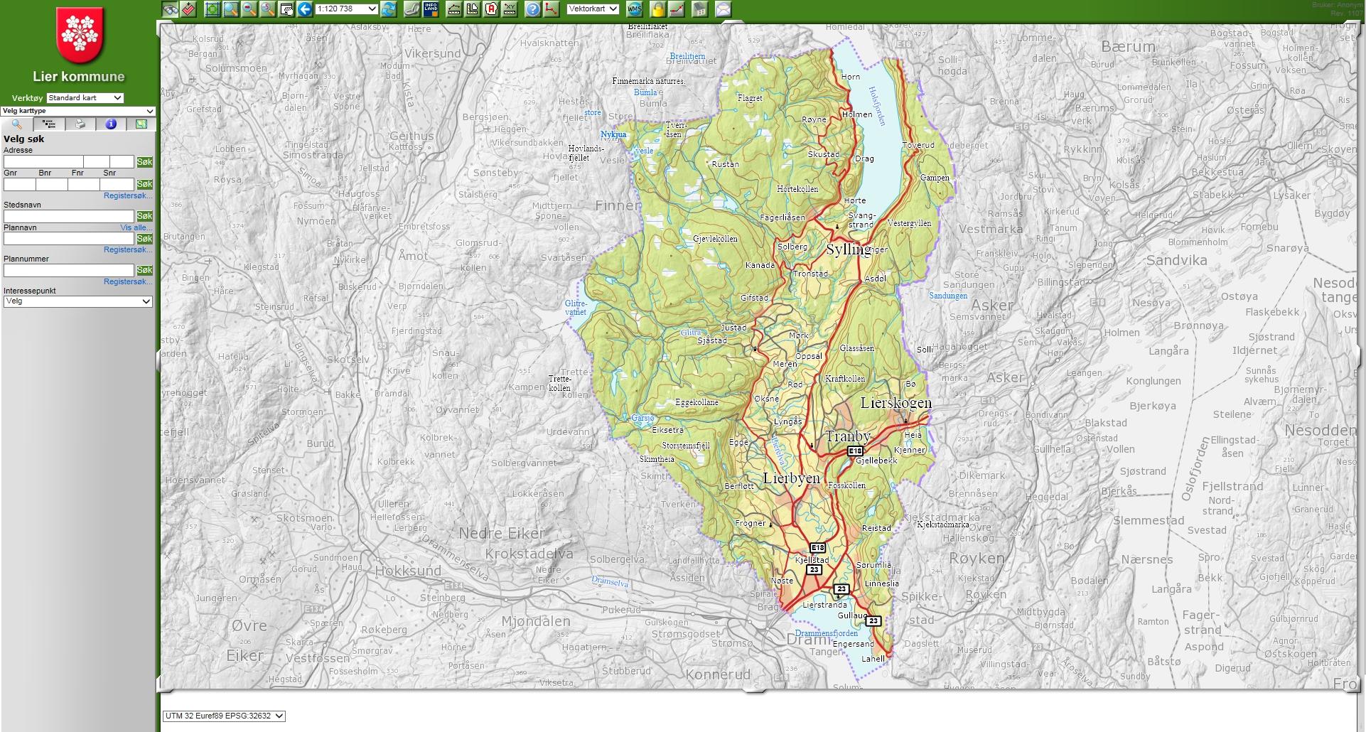 gisline kart Kart   Lier kommune gisline kart